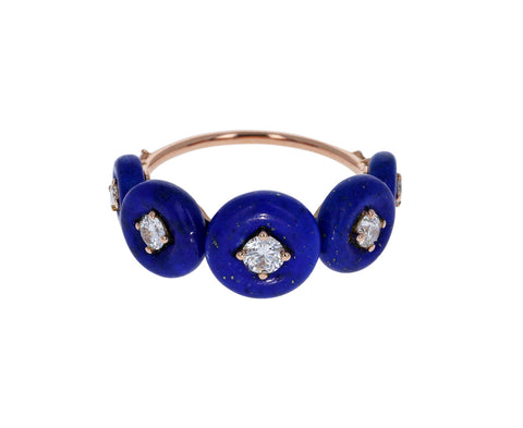 Lapis and Diamond Surrounding Ring