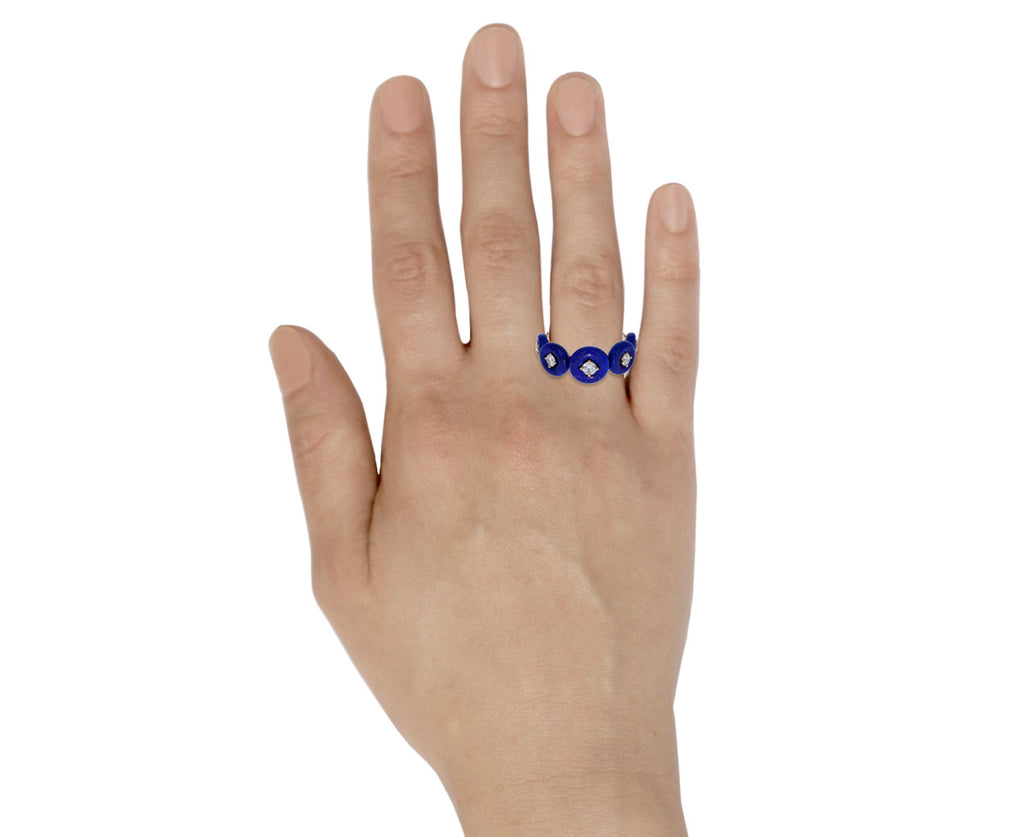 Lapis and Diamond Surrounding Ring - TWISTonline