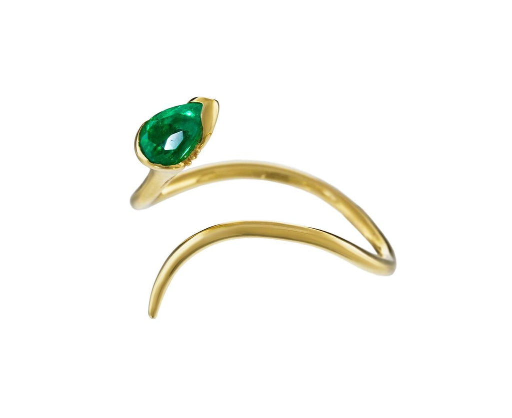 Emerald Open Sprout Ring with Diamonds - TWISTonline