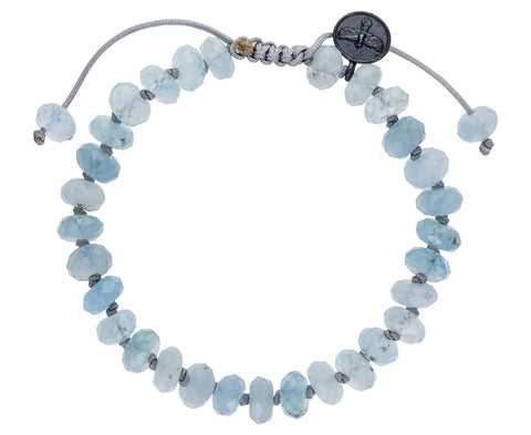 Faceted Blue Aquamarine Beaded Bracelet