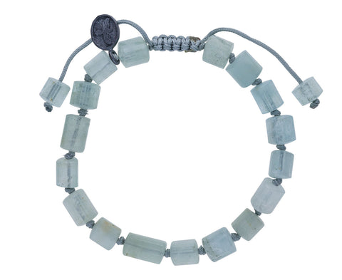 Aquamarine Barrel Beaded Bracelet