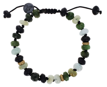 Green Beryl, Jade and Onyx Bracelet