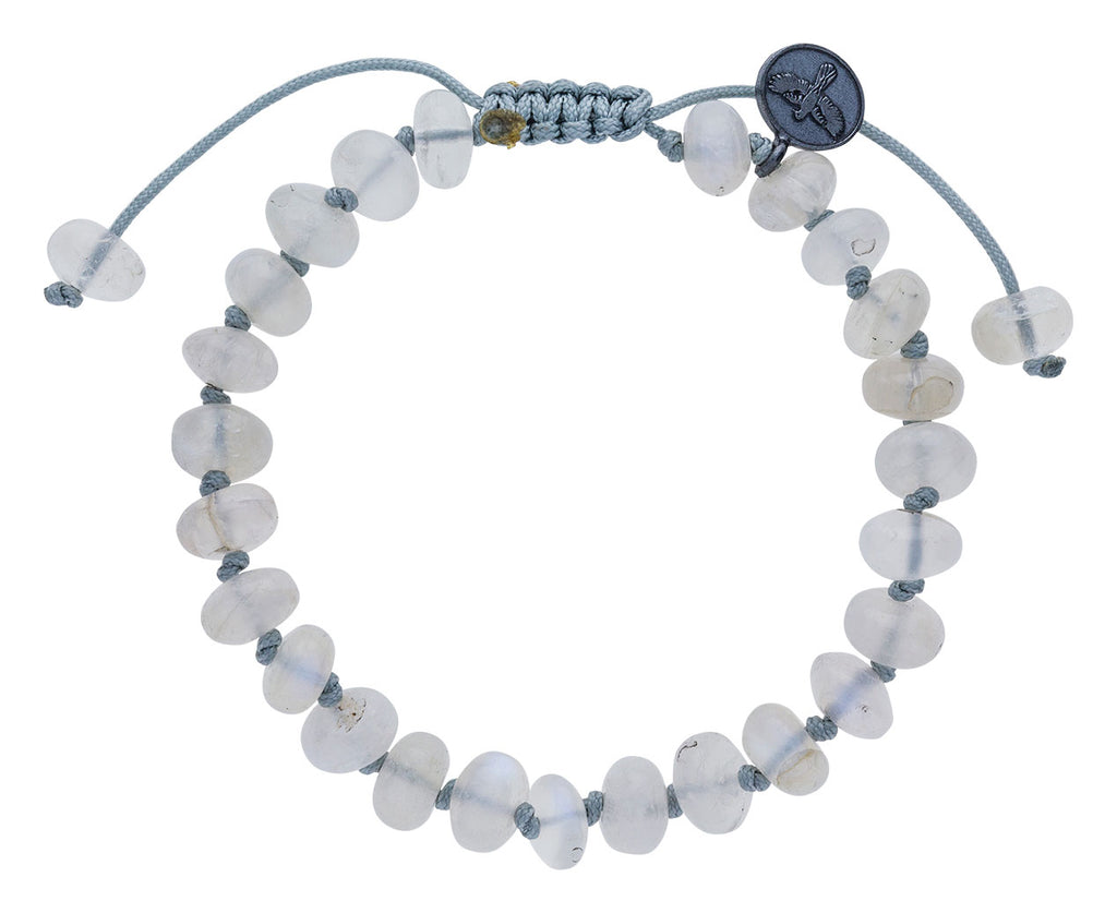 Smooth Blue Flash Moonstone Beaded Bracelet