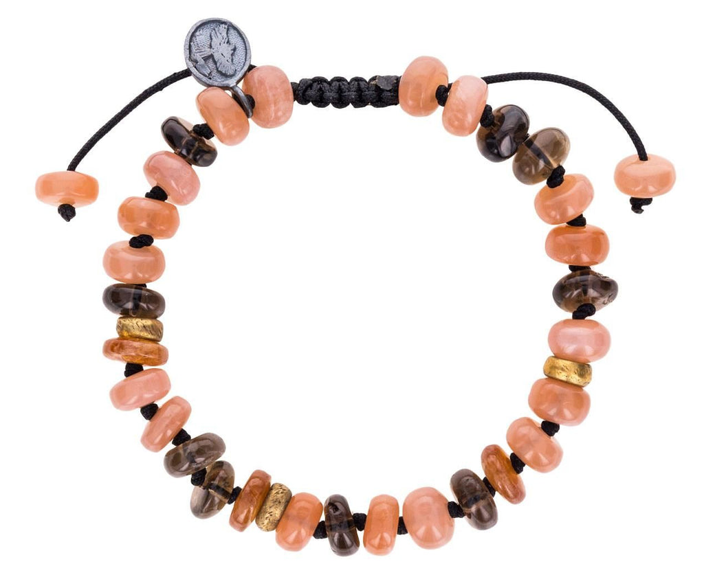 Peach Moonstone, Hessonite Garnet and Smoky Quartz Bracelet - TWISTonline
