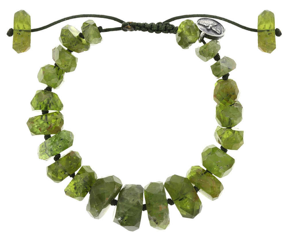 Large Nugget Peridot Beaded Bracelet