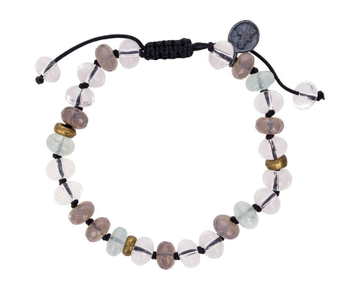 Quartz, Aquamarine and Onyx Beaded Bracelet - TWISTonline