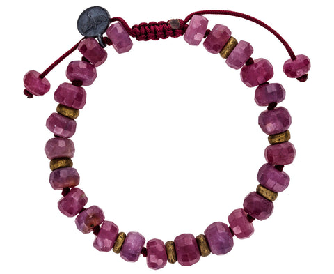 Ruby and Brass Beaded Bracelet - TWISTonline