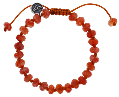 Faceted Sunstone Beaded Bracelet