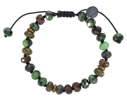 Ziosite, Smoky Quartz and Green Garnet Beaded Bracelet - TWISTonline