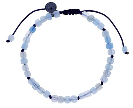 Square Aquamarine Beaded Bracelet
