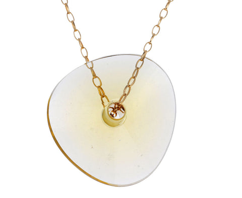 Large Champagne Quartz Paete Necklace