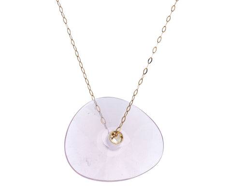 Medium Rose Quartz Paete Necklace