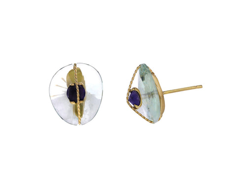 Prasiolite and Iolite Abraco Earrings