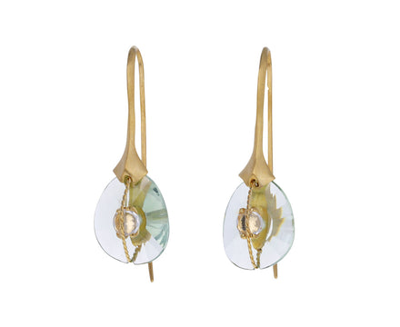 Prasiolite and Quartz Longo Abraco Hook Earrings