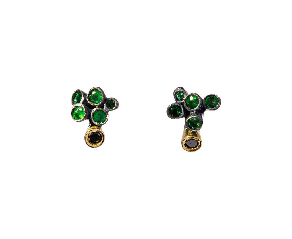 Emerald and Cognac Diamond Brinco Earrings