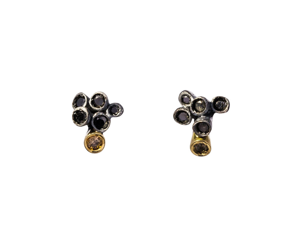 Black and Cognac Diamond Brinco Earrings