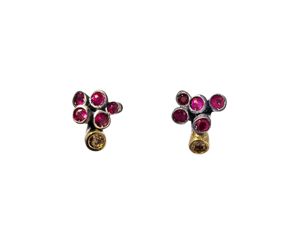 Ruby and Cognac Diamond Brinco Earrings