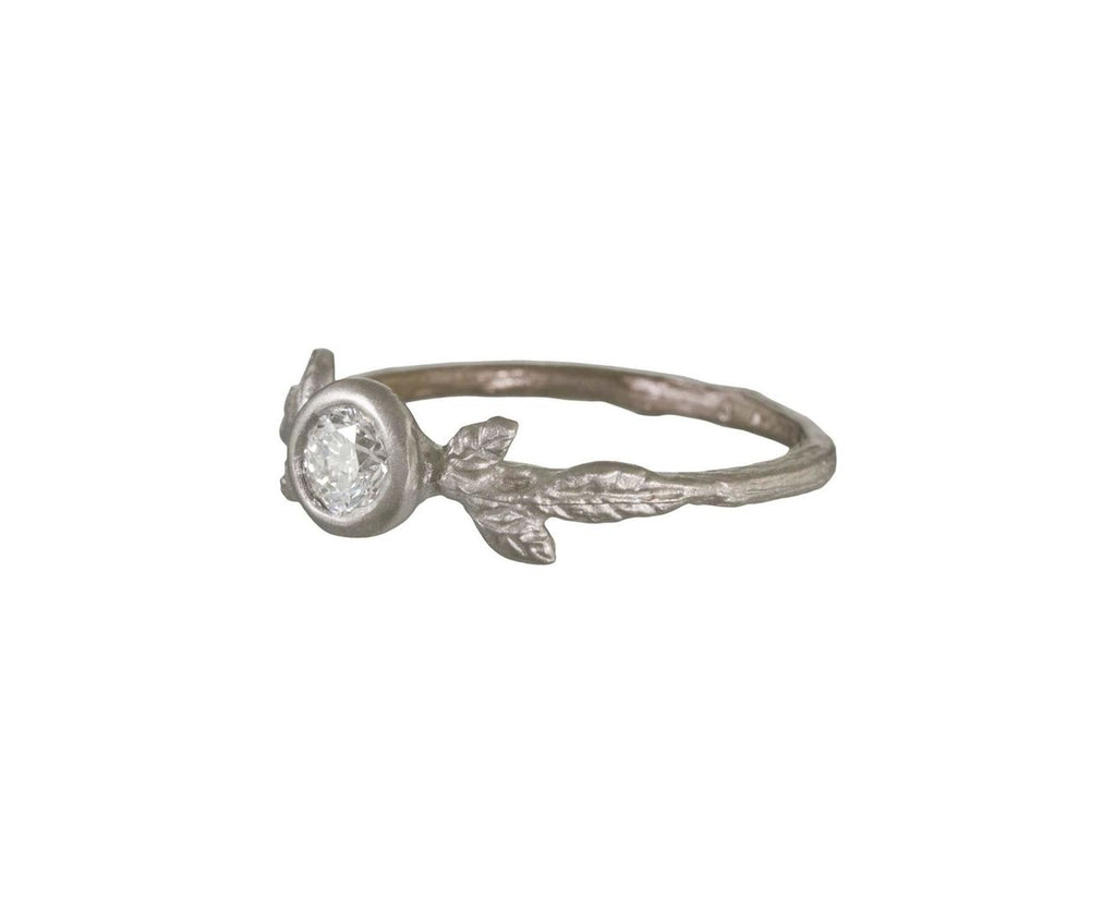 Diamond Solitaire Leaf and Twig Ring - TWISTonline