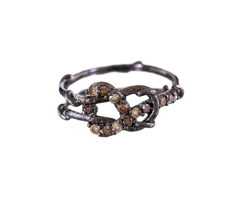 Blackened Love Knot Ring with Champagne and Cognac Diamonds - TWISTonline