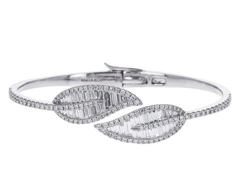 White Gold Diamond Palm Leaf Cuff Bracelet