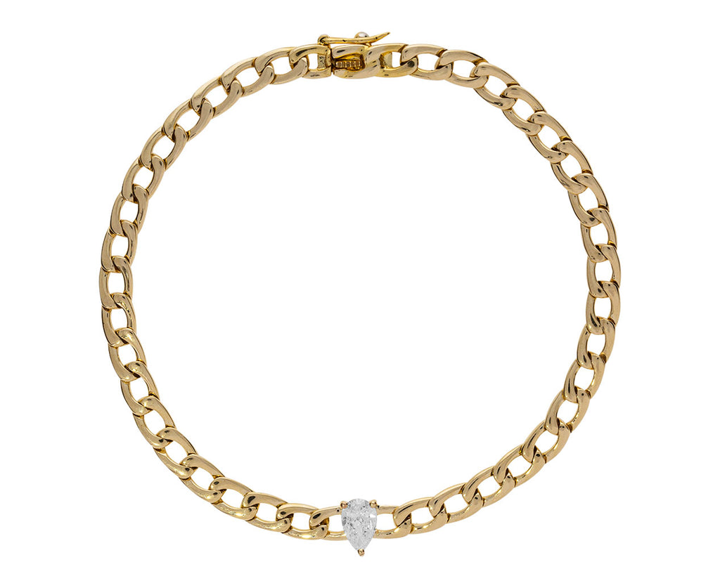 Pear Shaped Diamond Link Chain Bracelet