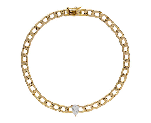 Pear Shaped Diamond Link Chain Bracelet - TWISTonline