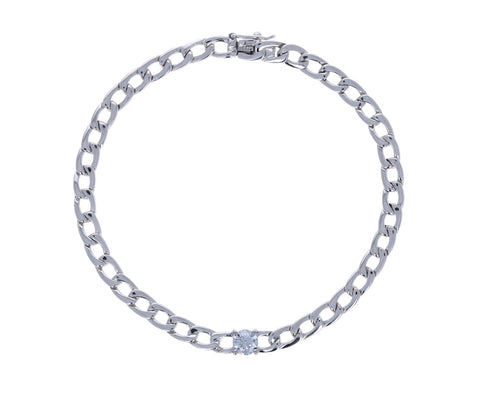 Round Diamond White Gold Chain bracelet