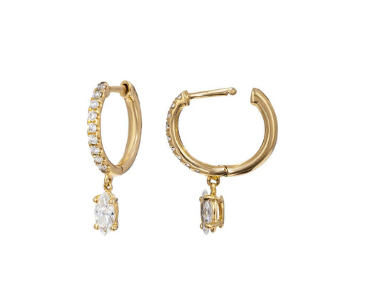 Diamond Huggies with Marquise Diamond Drops - TWISTonline