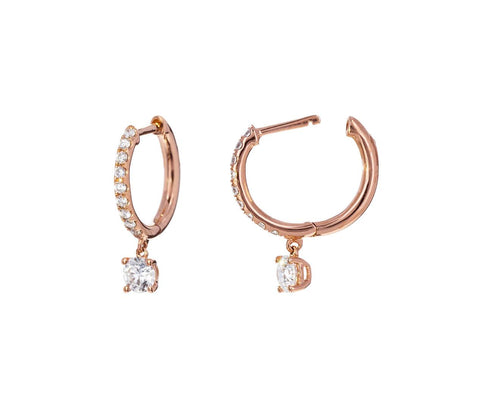 Diamond Huggies with Round Diamond Drops zoom 1_anita_ko_gold_diamond_hoop_earrings