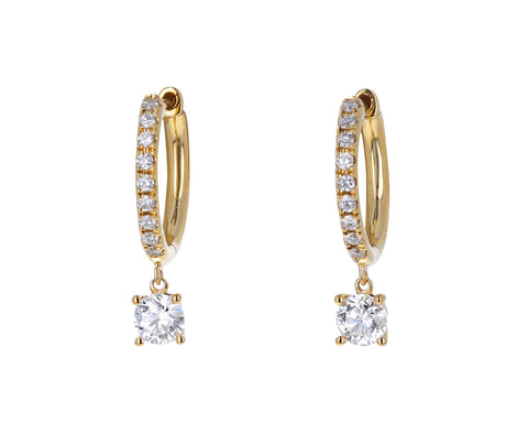 Anita Ko Diamond Huggie Hoop Earrings with Round Diamond Drops