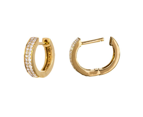 Double Row Diamond Huggie Hoops - TWISTonline