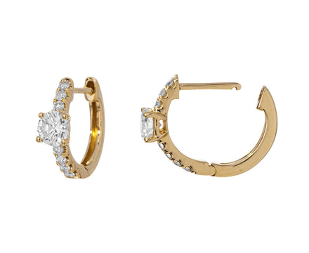 Round Diamond Set Huggie Hoops - TWISTonline