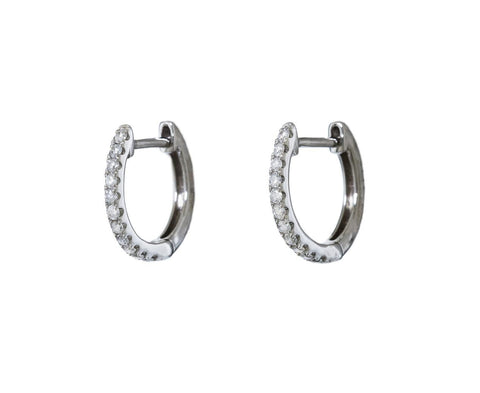 Small White Gold Diamond Huggie Earrings - TWISTonline