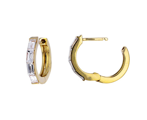 Diamond Baguette Huggie Hoops