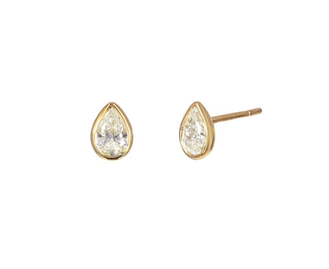 Pear Shaped Diamond Post Earrings zoom 1_anita_ko_gold_pear_shaped_diamond_stud_earrings
