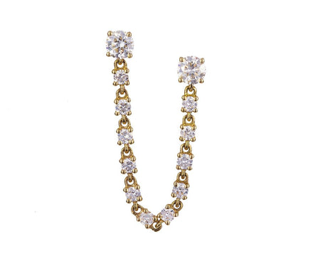 Diamond Chain Double Pierce SINGLE Earring - TWISTonline