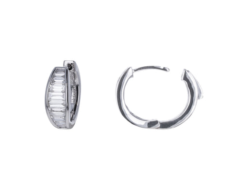Graduated Baguette Huggie Hoop Earrings