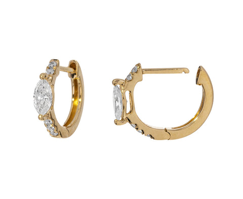 Marquise Diamond Set Huggie Hoops - TWISTonline
