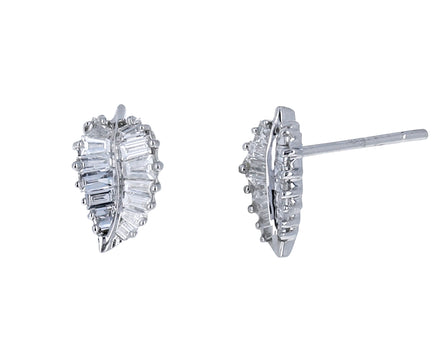 White Gold Small Palm Leaf Diamond Studs