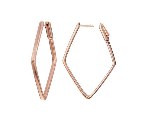 Rose Gold Diamond Shaped Hoops - TWISTonline