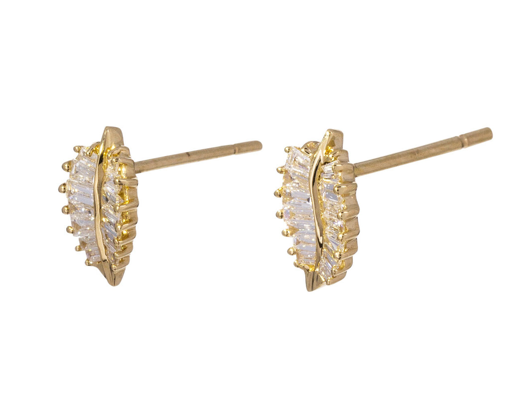 Small Palm Leaf Diamond Studs
