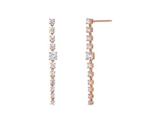 Rose Gold Diamond Rope Earrings - TWISTonline