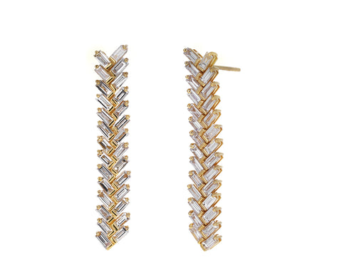 Baguette Short Zipper Earrings