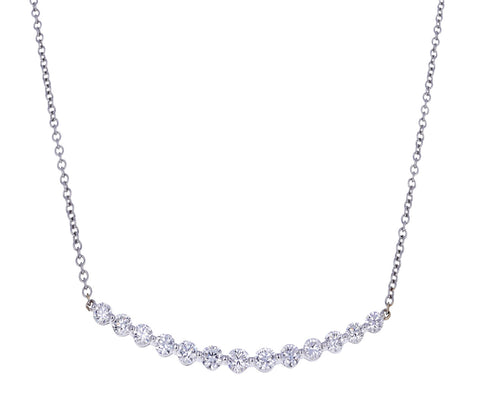 White Gold Diamond Crescent Necklace