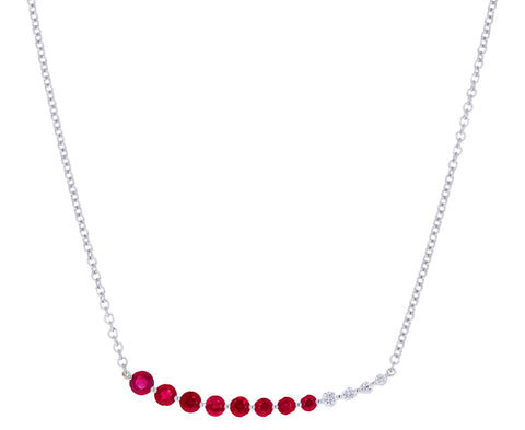 Ruby and Diamond Graduated Necklace