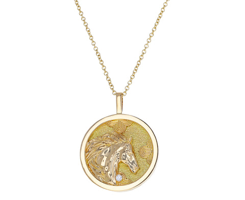 Lucky Horse Coin Lunar Zodiac Necklace