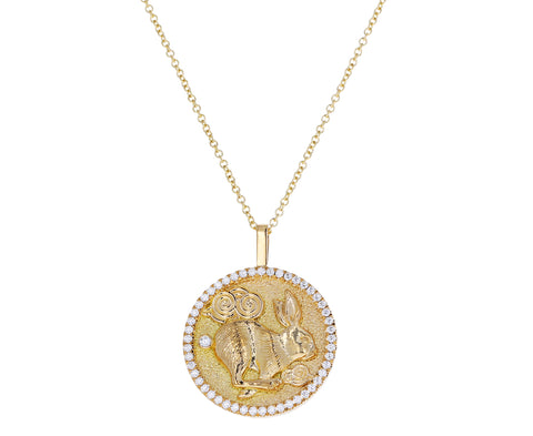 Diamond Lucky Rabbit Coin Lunar Zodiac Necklace