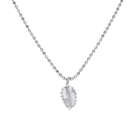 White Gold Small Palm Leaf Necklace