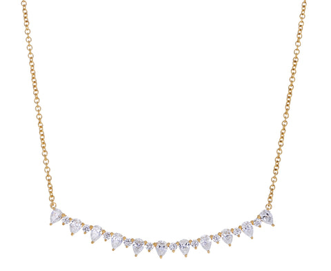 Mixed Diamond Crescent Pendant Necklace