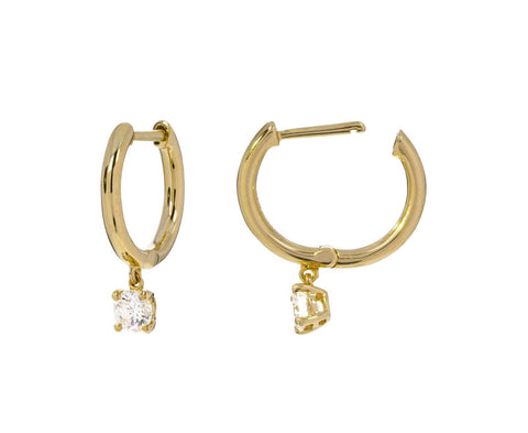Huggie Hoops with Diamond Drops zoom 1_anita_ko_gold_diamond_huggie_earrings